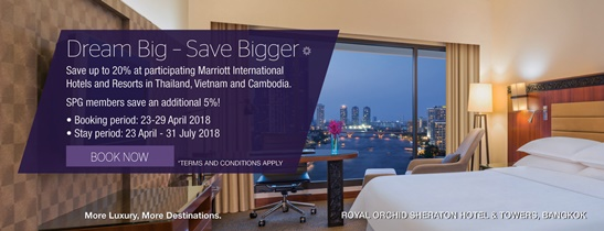 Book by 29 April 2018 and save up to 20% for your next stay. Rates start at THB 2,736++ per night for a Deluxe Riverview Room.