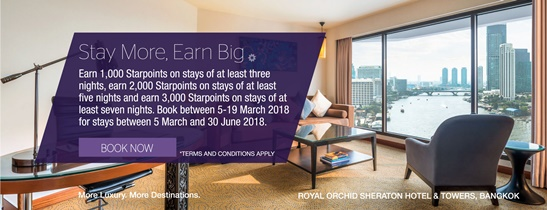 Earn Starpoints® on stays of at least three nights. Book between 5-19 March 2018 for stays between 5 March and 30 June 2018. Prices start at THB 3,040++ per night.