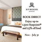 Reserve direct at our website by July 31, 2018 and immerse with special privileges during your stay